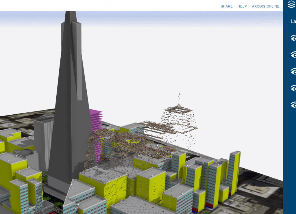 San Francisco OSM data plus CyberCity3D real world data plus CGA model