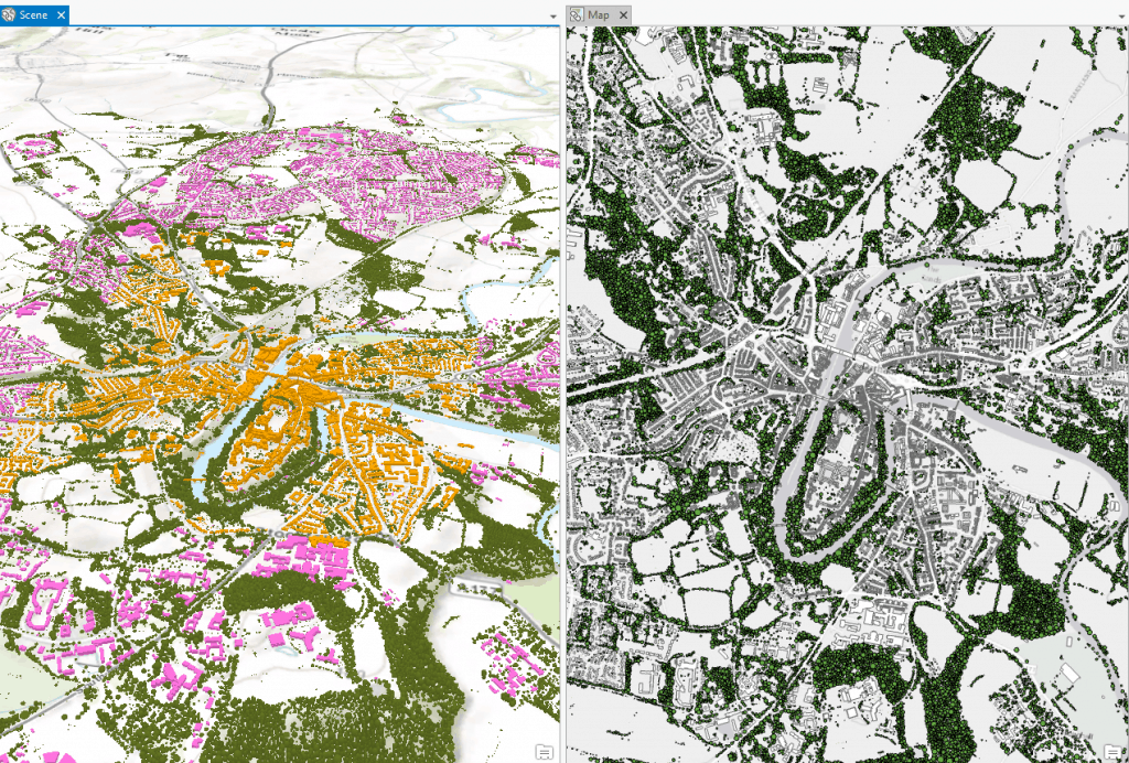 ArcGIS Pro 2D and 3D split view of Durham City trees, OS data and CyberCity3D data too