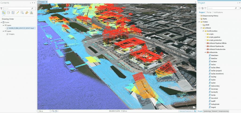 LIDAR data coloured purely by height