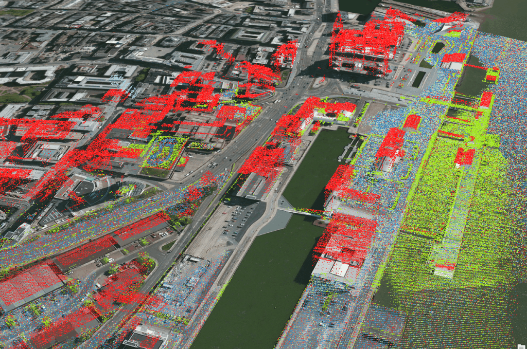 LIDAR data coloured by 'classification', this has some work to do I think!