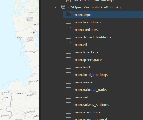 Loading the OS Open Zoomstack Geopackage into ArcGISPro